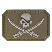 3D Rubber Patch Skull w. Swords oliv