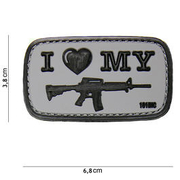 101 INC. 3D Rubber Patch I Love my M4 grau / schwarz