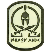 3D Rubber Patch Molon Labe Spartan nachleuchtend