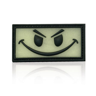 3D Rubber Patch Evil Smiley glow nachleuchtend 0