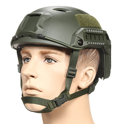 nHelmet FAST BJ Maritime Railed Airsoft Helm mit NVG Mount oliv