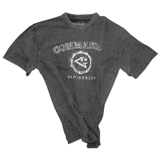 T-Shirt Established Logo acid washed, schwarz