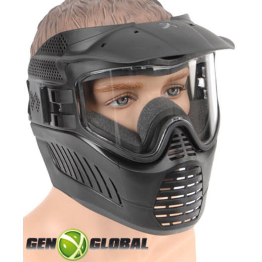 Paintball Schutzmaske GxG Stealth schwarz Single Glas