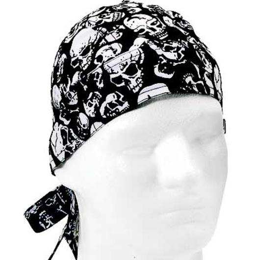 US-Headwrap Kopftuch Black Skulls