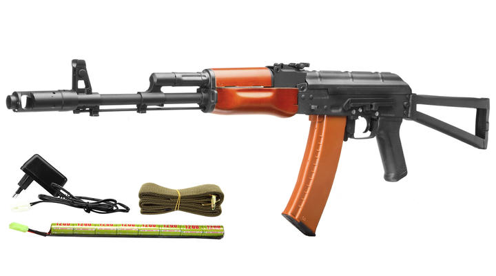 Kalash AKS-74 Vollmetall Echtholz Softair Komplettset S-AEG 6mm BB