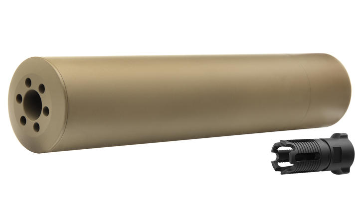 Madbull / Gemtech G5 Aluminium Silencer inkl. Flash-Hider Desert Tan 14mm -