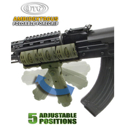 UTG Ambidextrous 5-Position Foldable Foregrip OD