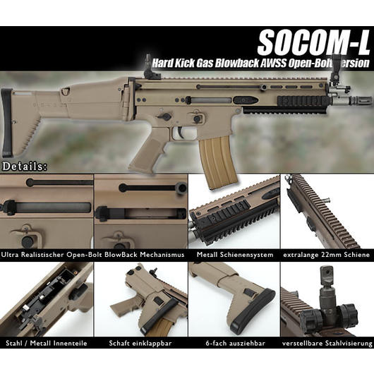 Wei-ETech Socom-L Vollmetall AWSS Open-Bolt Gas-Blow-Back desert