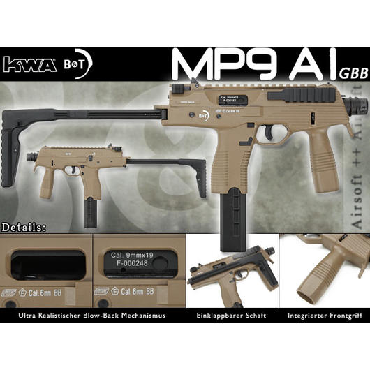 KWA Softair B&T MP9 A1 Gas-Blow-Back (NS2) 6mm BB desert