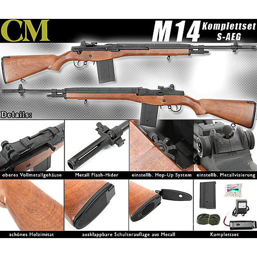 CM M14 Rifle Softair Wood Vollmetall Komplettset S-AEG 6mm BB