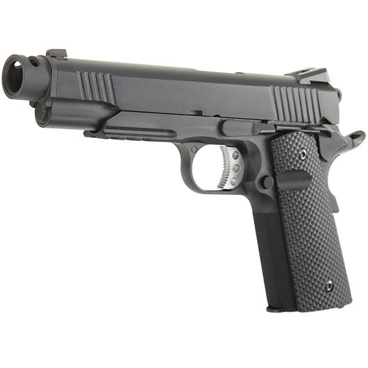 Socom Gear DoubleStar 1911 CP Vollmetall GBB inkl. Golfball Grip / Streamline Comp. 6mm BB schwarz