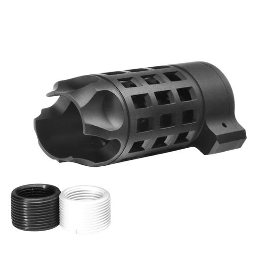G&P Extended Iron Bars Style Aluminium Flash-Hider schwarz 14mm+ / 14mm-