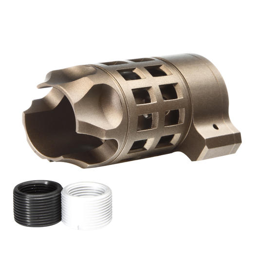 G&P Capture Iron Bars Style Aluminium Flash-Hider sand 14mm+ / 14mm-