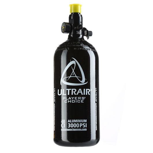 Ultrair 0,8L / 48ci HPA Tank mit Regulator 3000 PSI / 850 PSI schwarz