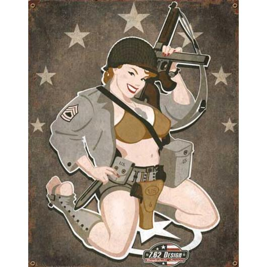 Blechschild 7.62 Vintage Wall Sign D-Day Diva
