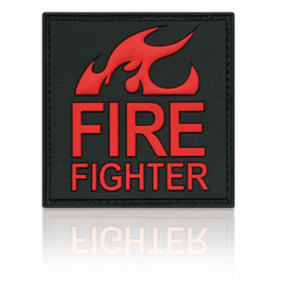 3D Rubber Patch Fire Fighter schwarz rot
