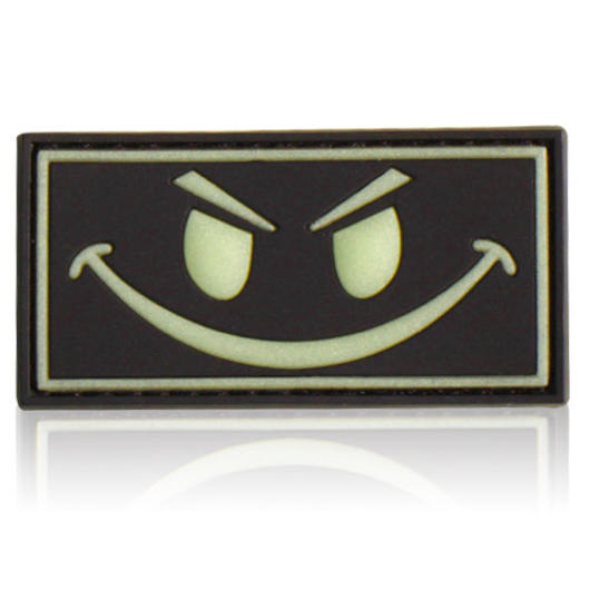3D Rubber Patch Evil Smiley, mit Klett,  glow schwarz nachleuchtend