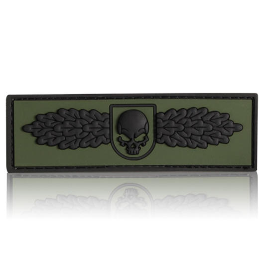 3D Rubber Patch SOF Skull Badge schwarz oliv