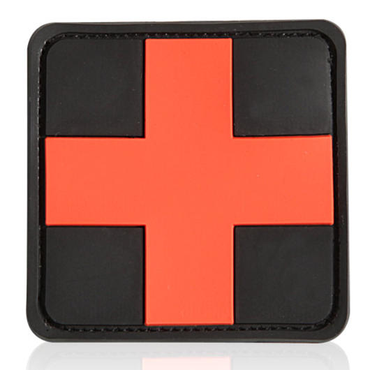 3D Rubber Patch medic schwarz rot