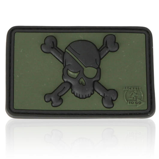 3D Rubber Patch Pirate Skull forest