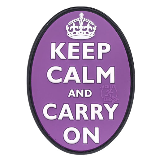JTG 3D Rubber Patch Keep Calm and Carry on lila