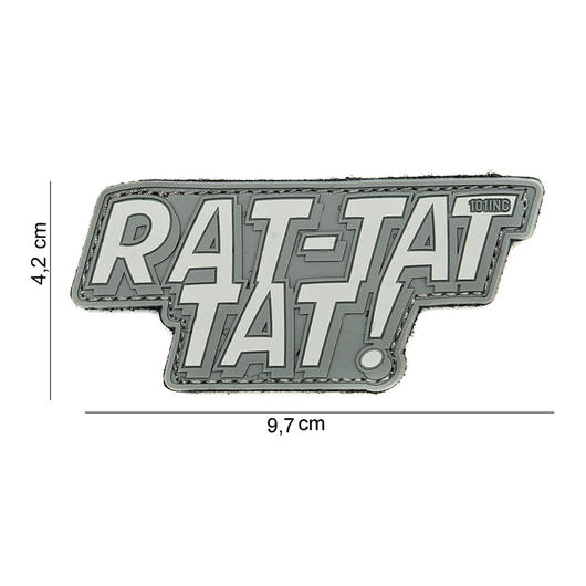 101 INC. 3D Rubber Patch Rat-tat tat grau