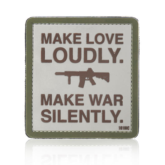 101 INC. 3D Rubber Patch Make love loudly sand/braun