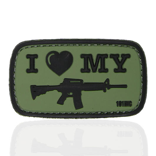 101 INC. 3D Rubber Patch I Love my M4 oliv/schwarz
