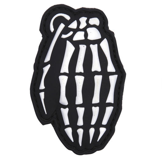 3D Rubber Patch Skull Granate weiß