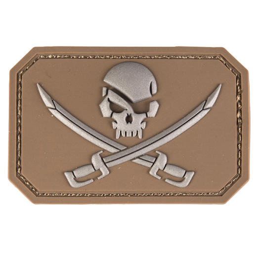 3D Rubber Patch Skull w. Swords dark coyote