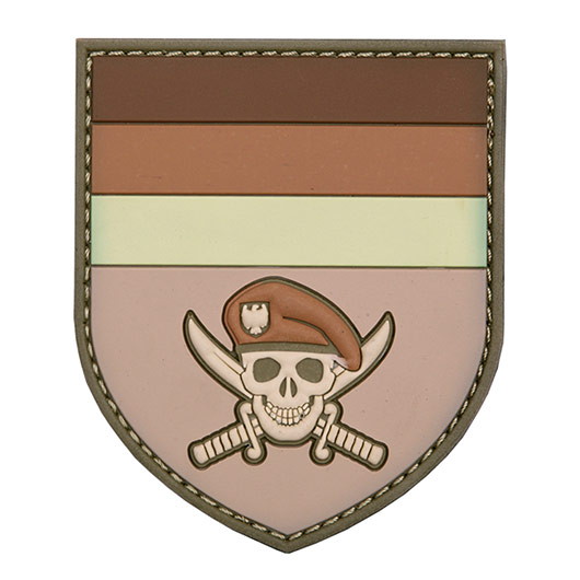 3D Rubber Patch German Commando Skull braun