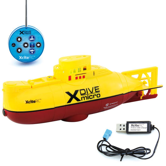 XciteRC X-Dive Mini U-Boot 3-Kanal 27 MHz RTR Set gelb 42001000