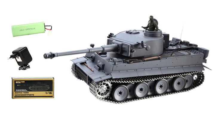 tiger i rc panzer mit metallketten 1 16 schussf hig grau. Black Bedroom Furniture Sets. Home Design Ideas