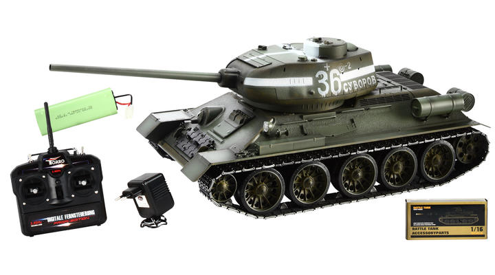 torro rc panzer t34 85 1 16 metallketten schussf hig gr n. Black Bedroom Furniture Sets. Home Design Ideas