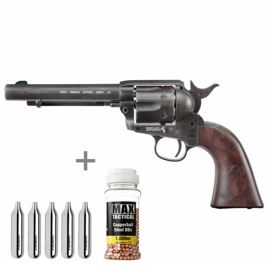 Colt Single Action Army 45 antik CO2 Revolver 4,5 mm BB Starterset
