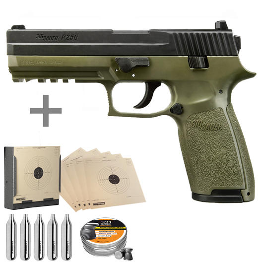 Sig Sauer P250 CO2 Luftpistole 4,5mm Diabolo Blowback bicolor Komplettset